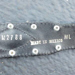 "Accessories - Cowboy/Vaquero Cow Hair Leather Ornate Belt 28-32"""